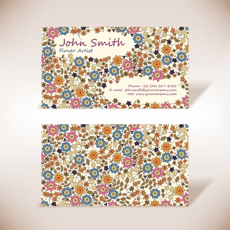Small flowers business-card Stock Vector - 14559622
