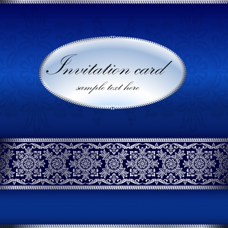 dinner date: Blue invitation card with ornament motif Illustration