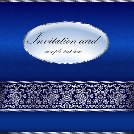 royal wedding: Blue invitation card with ornament motif Illustration