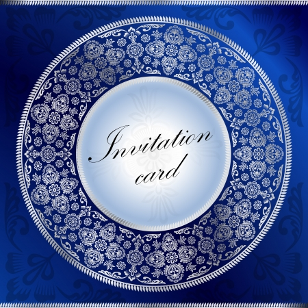Blue invitation card with rounded ornament motif Vector