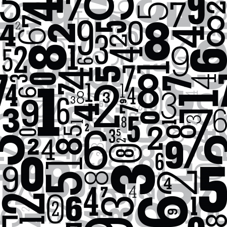 digits: Black seamless pattern with numbers