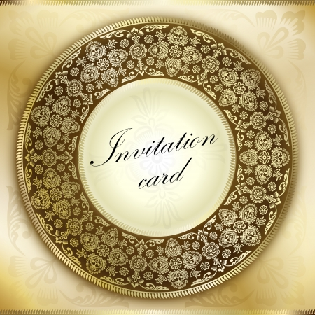rounded circular: Gold invitation card with rounded ornament motif