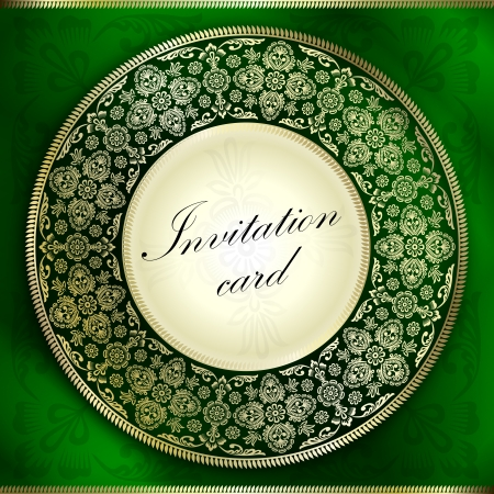 Green invitation card with rounded ornament motif Vector