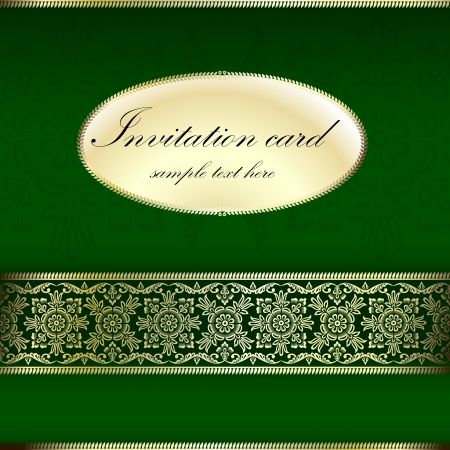 dinner date: Green and gold invitation card with ornament motif Illustration