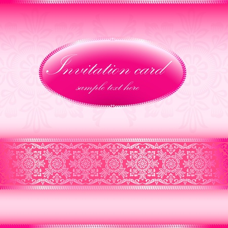 Pink invitation card with ornament motif Vector
