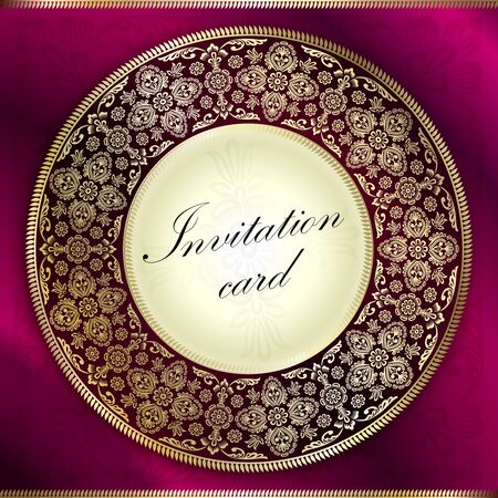 Purple invitation card with rounded ornament motif Vector
