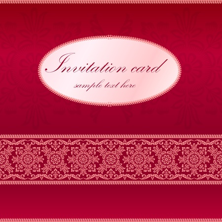 dinner date: Red invitation card with ornament motif