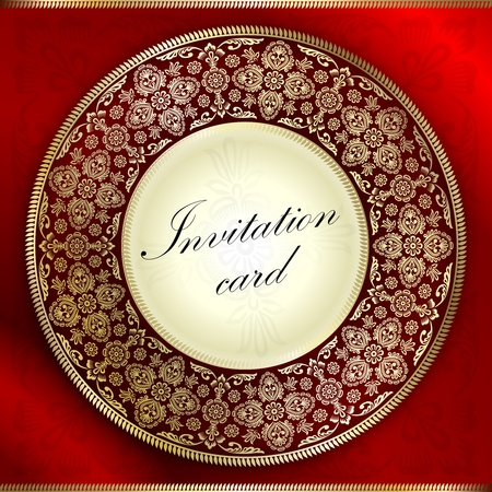 Red invitation card with rounded ornament motif Vector