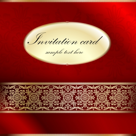 Red invitation card with ornament motif Vector