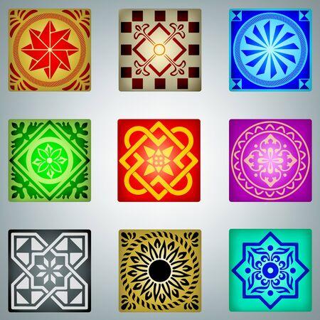Retro colorful ornaments Stock Vector - 14580810