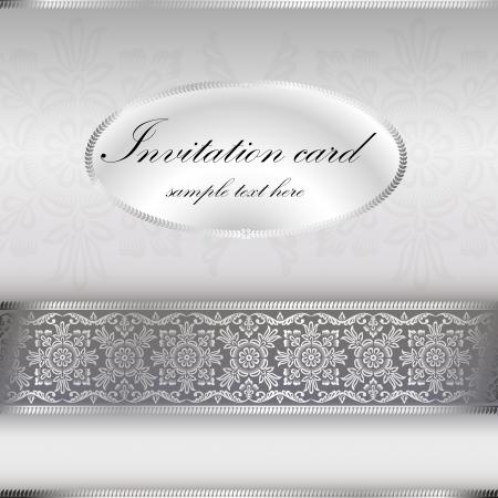 Silver invitation card with ornament motif Vettoriali