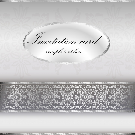 Silver invitation card with ornament motif Vector