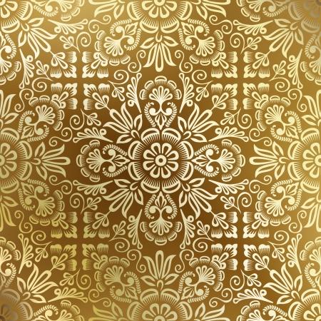 leafs: Seamless damasco dorato wallpaper