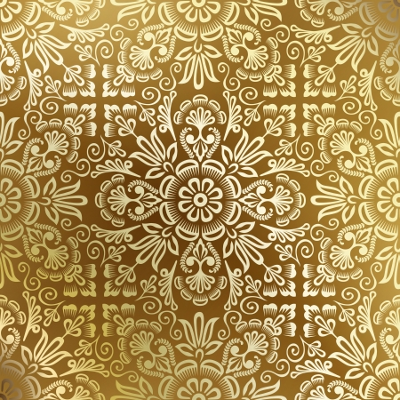 leafs: Seamless golden damask wallpaper