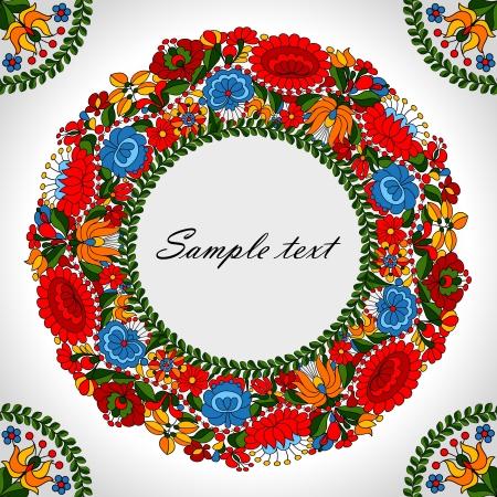 Húngaro ornamento popular tradicional círculo fondo de la plantilla