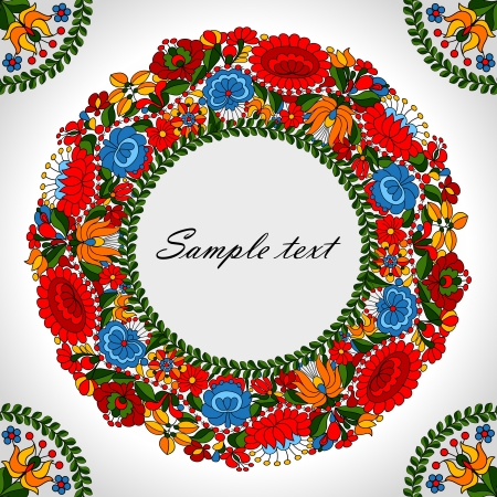 Hungarian traditional folk ornament circle background template Vector