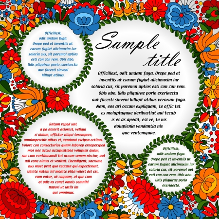 Hungarian traditional folk ornament circles background template Vector