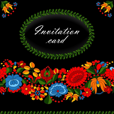hungarian: Hungarian traditional folk ornament invitation card template