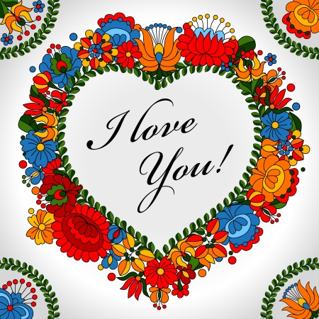 Hungarian traditional folk ornament heart background template Vector