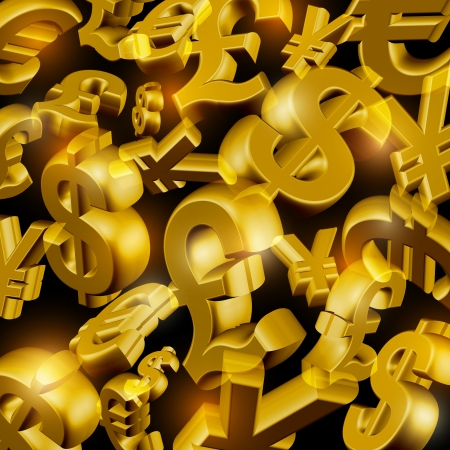 currency symbols: Rain from the golden currency symbols