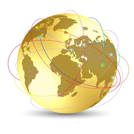 gold earth: Global internet concept