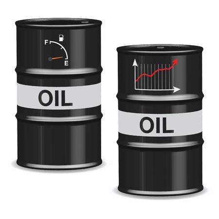 Oil crisis barrels on white background - English
