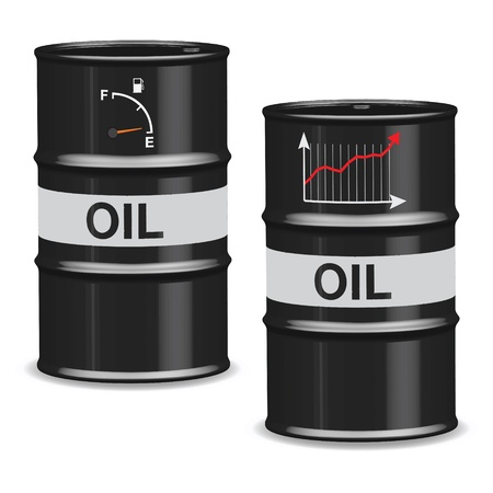 Oil crisis barrels on white background - English Vector