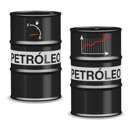 lube: Oil crisis barrels on white background - Spanish Illustration