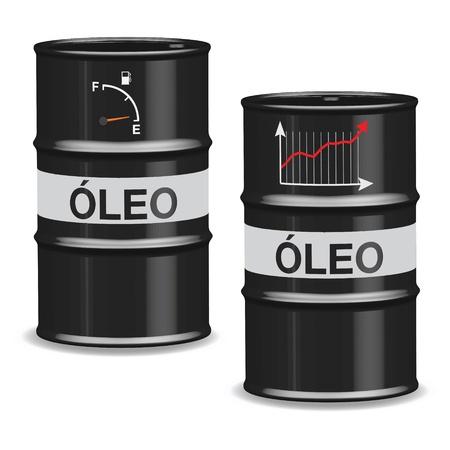 regress: Oil crisis barrels on white background - Portuguese