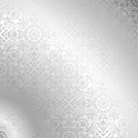 Seamless silver damask wallpaper  Vector