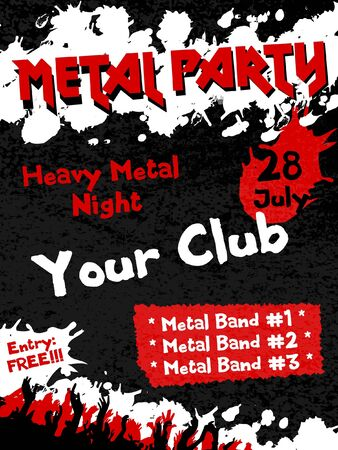 Metal Party flyer vector template