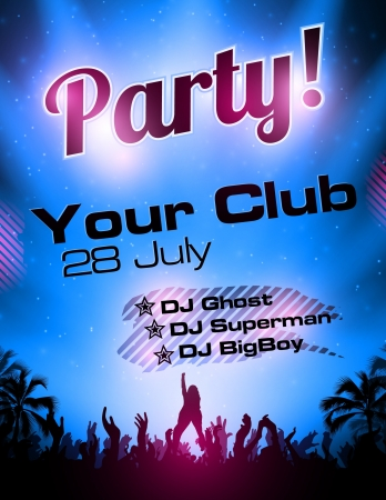 Blue Party flyer vector template