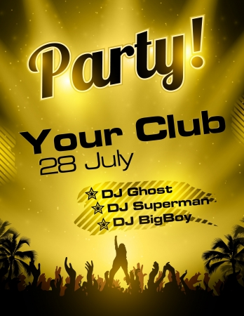 party flyer: Gold Party flyer vector template