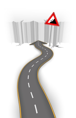 road closed: Road to abyss vector illustration