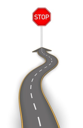 Road to stop board vector illustration Vettoriali