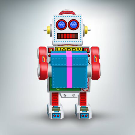 Retro robot illustration toy with gift