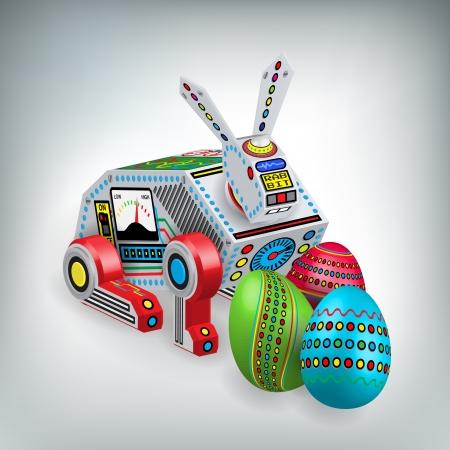 Conejo retro robot de juguete con la ilustración de los huevos de Pascua Foto de archivo - 14580973
