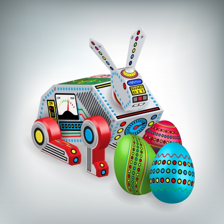 Retro robot rabbit toy illustration with easter eggs Vector