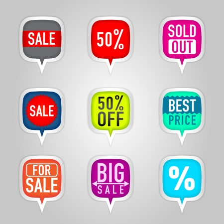 Colorful sale stickers Vector