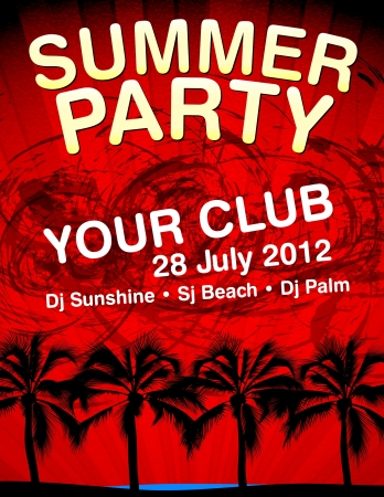 Summer Party flyer vector template Vector