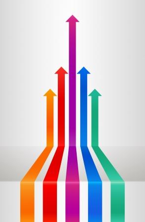 team leadership: Perspective arrows Illustration