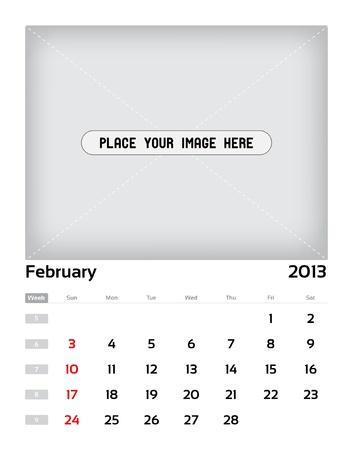 Vector calendar 2013 - february Stock Vector - 15470136