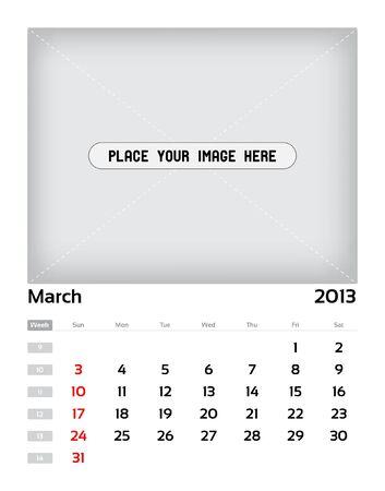 Vector calendar 2013 - march Vector