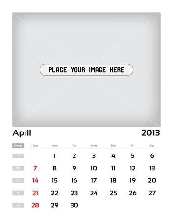 Vector calendar 2013 - april Vector