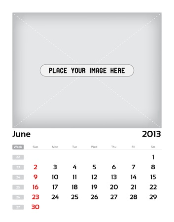 Vector calendar 2013 - june Stock Vector - 15470141