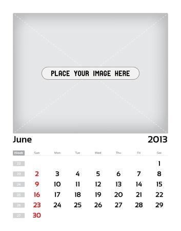 Vector calendar 2013 - june Stock Vector - 15470141