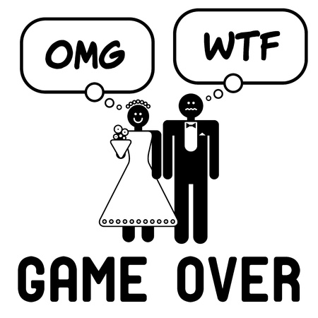 proposals: Funny wedding symbol with speech bubble - Game Over Illustration