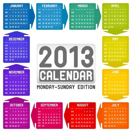 schedulers: calendar 2013 - Monday-Sunday edition Illustration