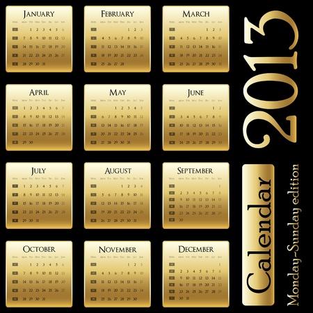 달력 2013 - 월요일 - 일요일 판