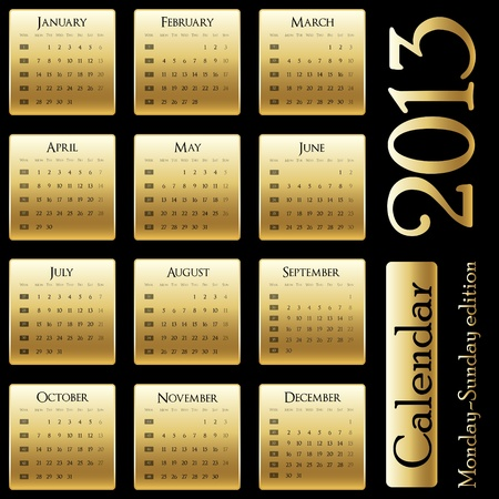 calendar 2013 - Monday-Sunday edition Vettoriali